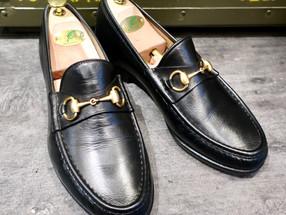 靴修理:グッチのビットローファーをかかと修理とハーフソール