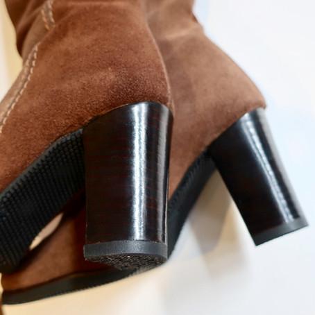 靴修理:婦人ロングブーツの雪国対応オールソール