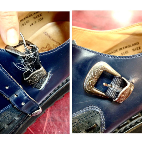 靴修理:モンクストラップシューズのビラゴム交換をしました