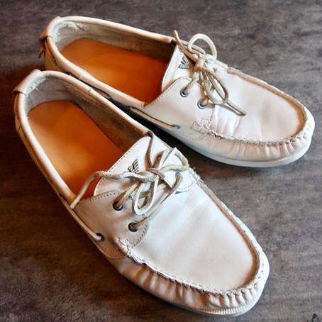 靴修理:デッキシューズのオールソールとピカピカセット