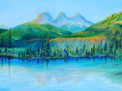 Landscape Oil Painting of Three Sisters Mountains near Canmore Alberta by Canadian Artist Eric S. Sennhauser