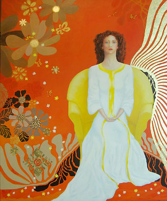 Oil Painting in art deco style using gold leaves of woman by Canadian Artist Eric S. Sennhauser