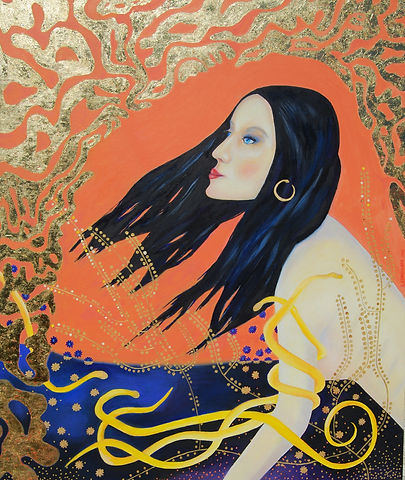 Oil Painting in art deco style using gold leaves of woman with snakes by Canadian Artist Eric S. Sennhauser