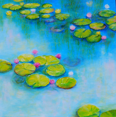 Oil Painting of Water Lilies by Canadian Artist Eric S. Sennhauser