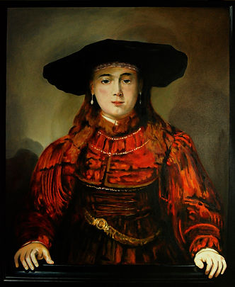 Rembrandt's Girl in the Picture Frame painted by Eric Sennhauser