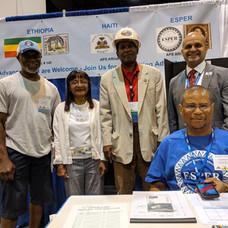 Ricky Johnson of North Carolina, Julie Leak of New York, Edgar Hicks of Omaha, Felix Luis Perez-Folch, Jr. of Mississippi, and Vice President Howard Ingram of Virginia (seated).