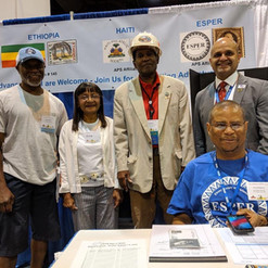 Ricky Johnson of North Carolina, Julie Leak of New York, Edgar Hicks of Omaha, Felix Luis Perez-Folch, Jr. of Mississippi, and Vice President Howard Ingram of Virginia (seated).