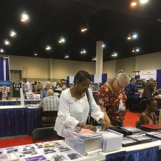 Charlene Blair checking out covers.
