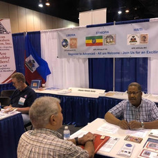 Don Neal in conversation with ESPER member Alan Cecilio of Maryland.  Alan is also a member of the LIberian Philatelic Society.