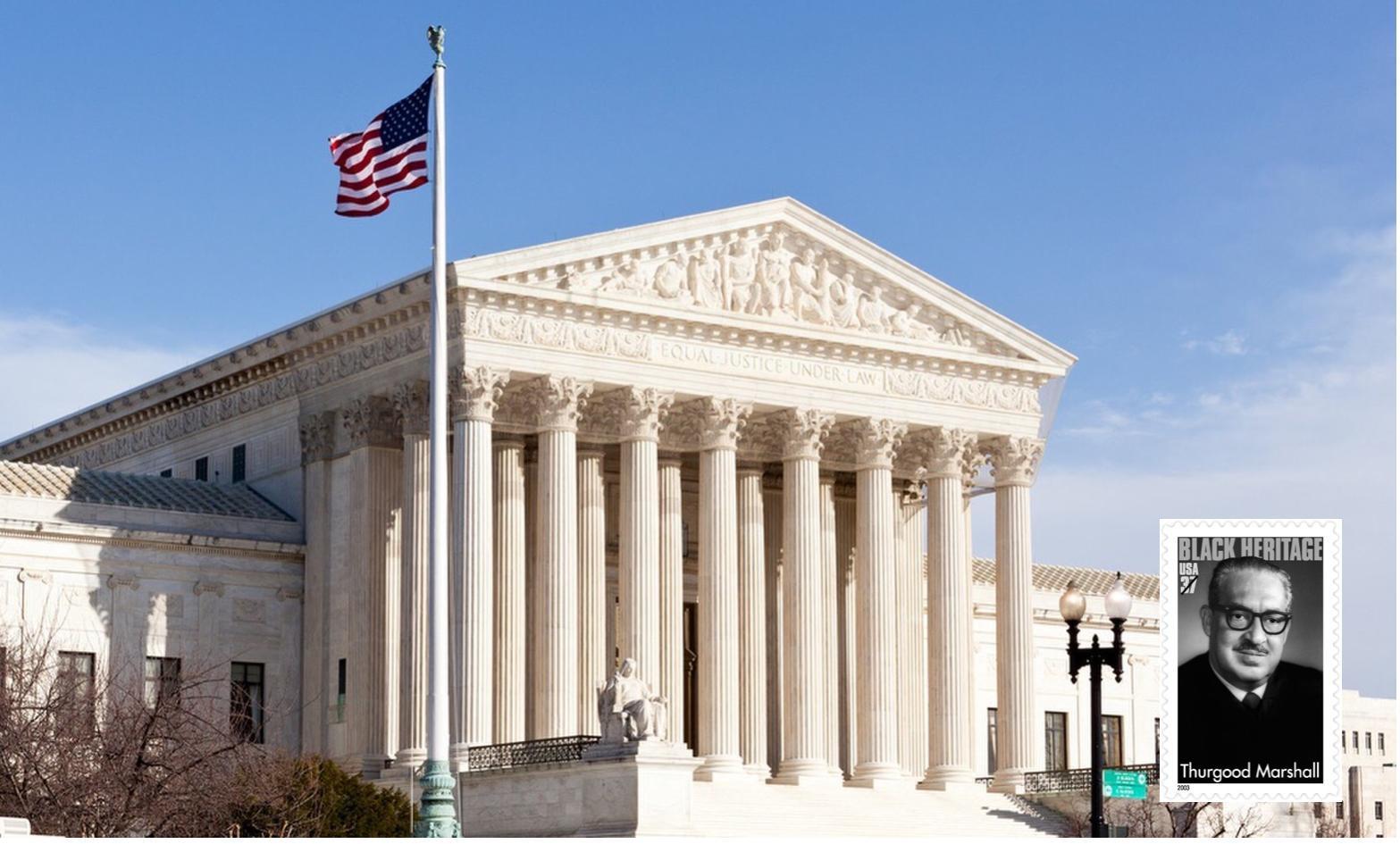 Supreme Court building with Thrurgood Marshall