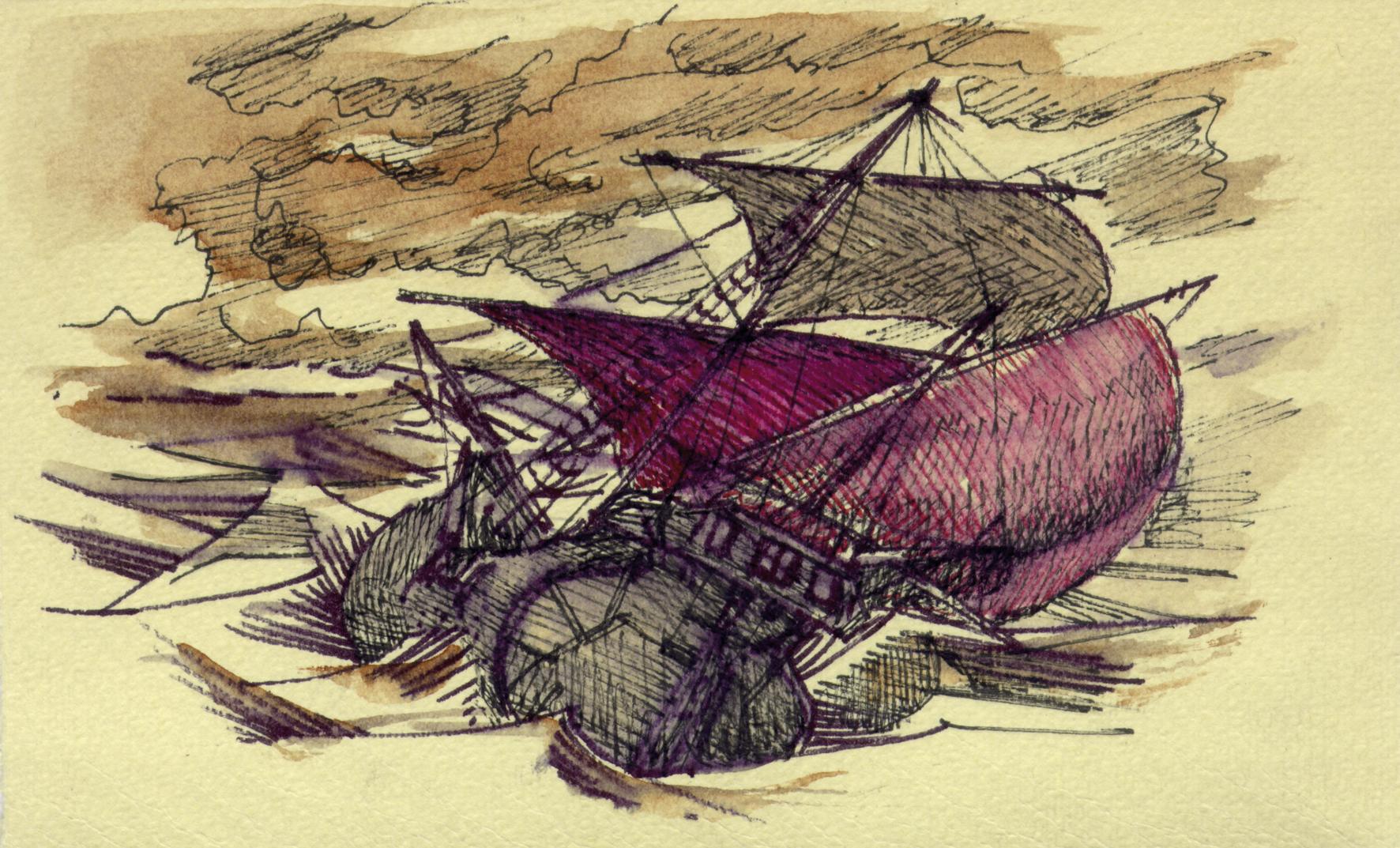 nave con mare in tempesta