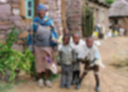 Grandmother and grandchildren in Lesotho