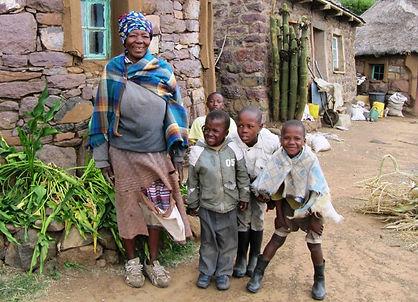 Grandmother and grandchildren in Lesotho