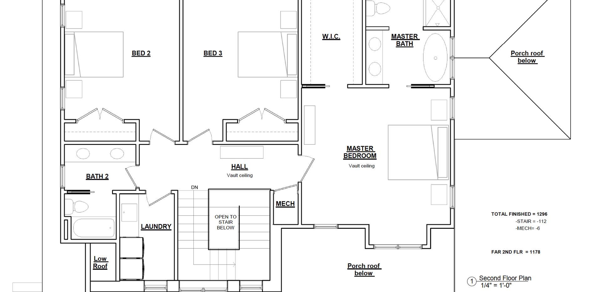 Monticello floor plan - upper level