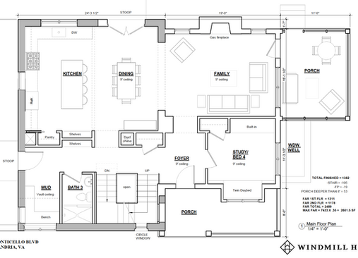 Monticello floor plan - main level