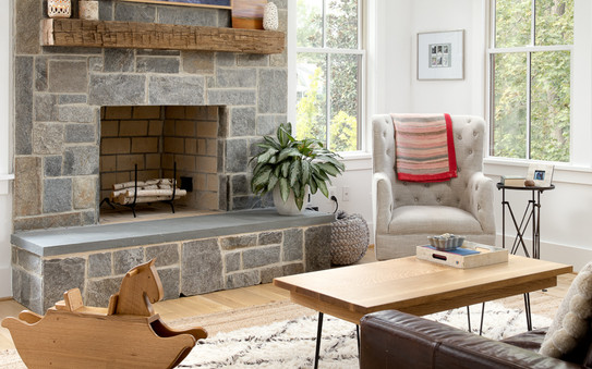 windmill hill: hilltop bungalow fireplace