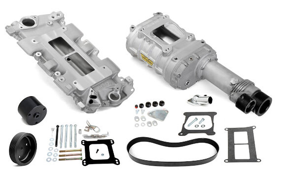 Chevy Small Block WEIAND 177 POWERCHARGER KIT - LONG NOSE - SATIN