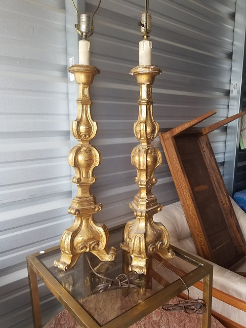 A Outstanding Pair of Large Florentine Giltwood Lamps