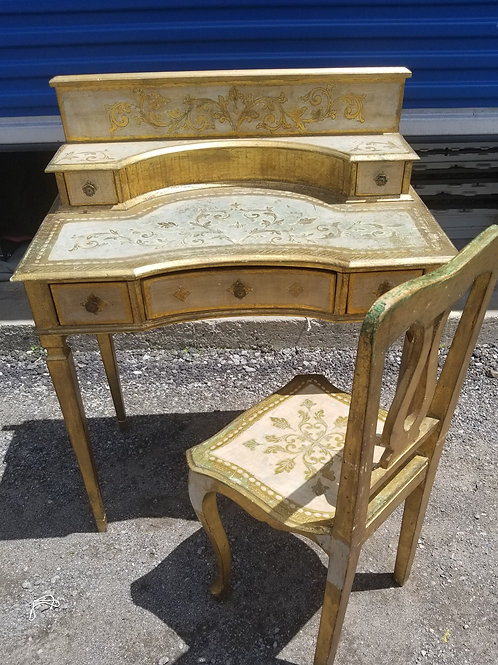 A Old Florentine Desk and Chair