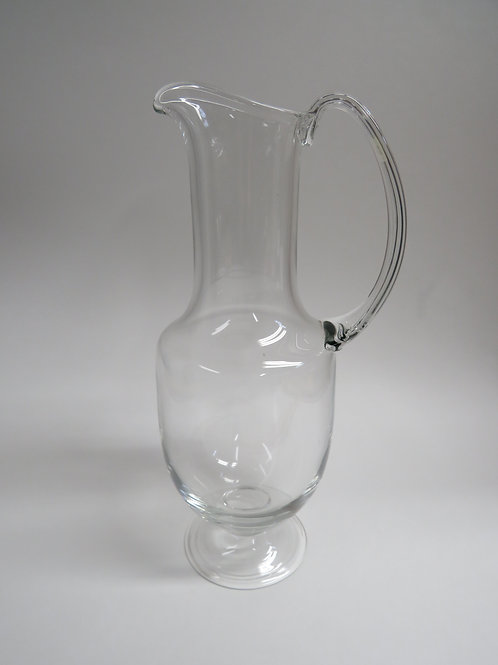 Mid century clear blown glass jug or vine carafe signed