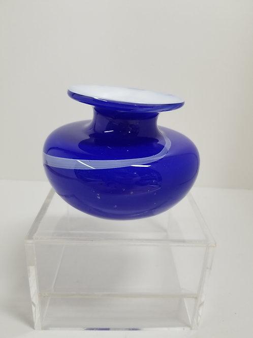"""Blown Art Glass Vase Signed 4.5"""""""