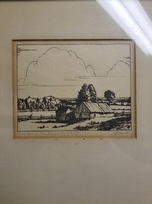 A wood cut by E.R. Hunter dated 1903