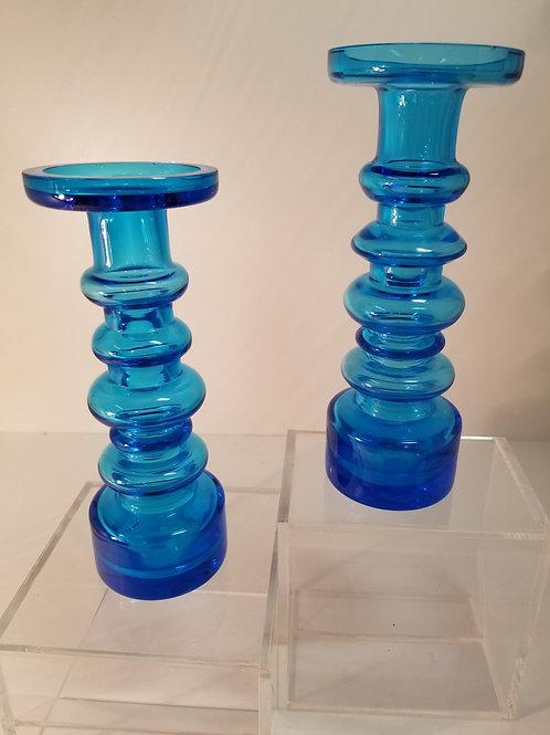 Oiva Toikka Blue Glass Candlesticks Signed
