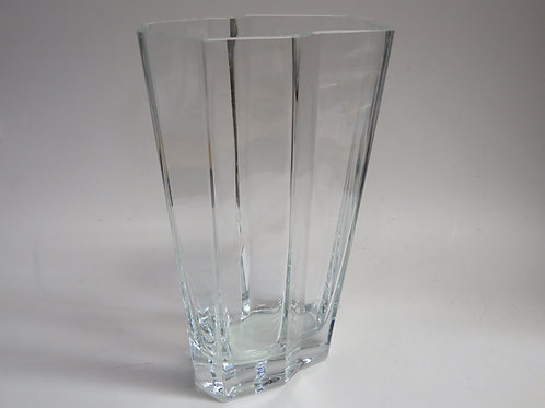A modern clear glass vase signed  Tapio Wirkkala