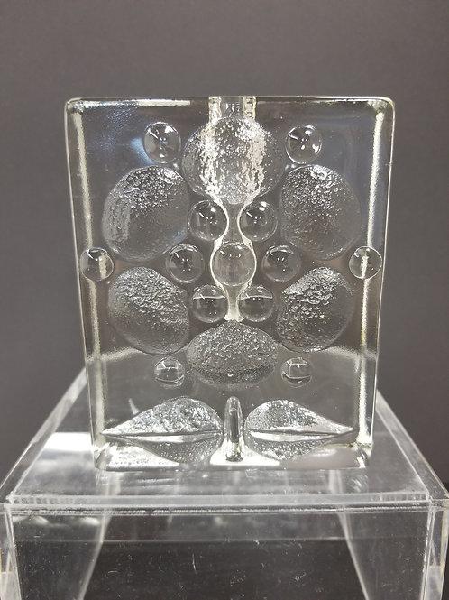 "Mid Century Pukeberg Glass Block Vase 5"""