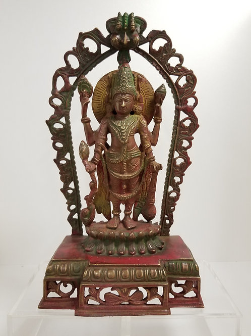 A Cast Bronze Lord Shiva with red paint