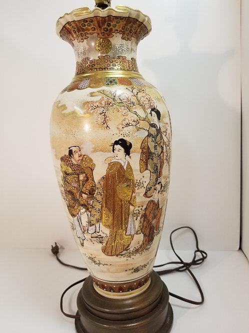 A late 19th century Satsuma table lamp