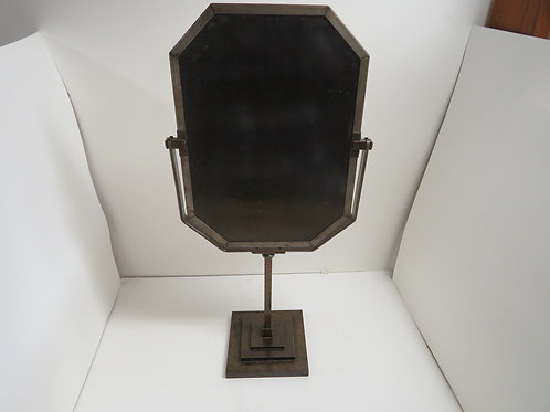 A Art Deco bronzed metal mirror on stand 1930s