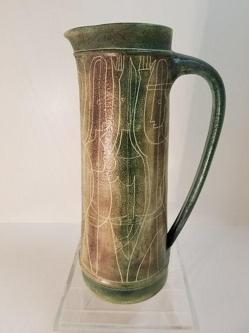 Mid century Brooklin Ontario Canadian art pottery Sgrafftio jug