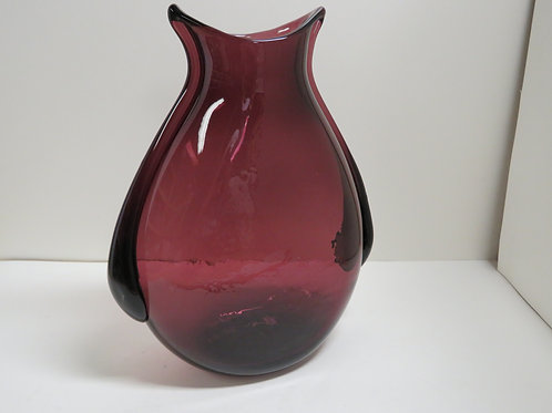 A mid century Murano glass vase of flatten oval form  Italy c1960
