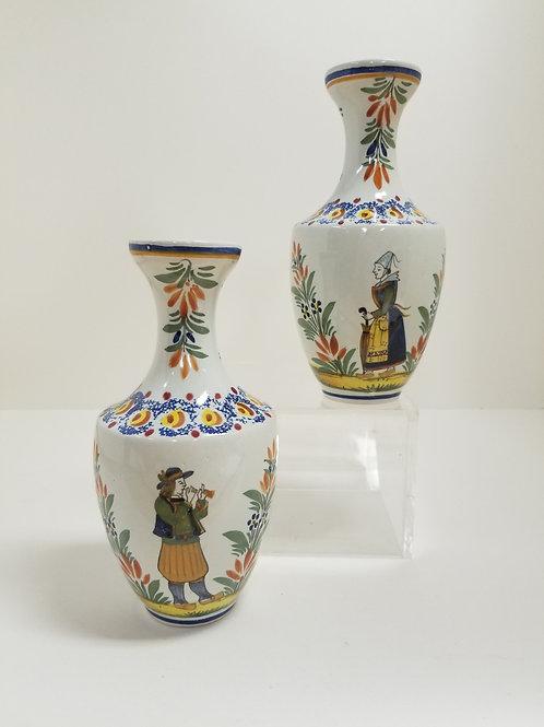 A pair of Henriot Quimper pottery vases