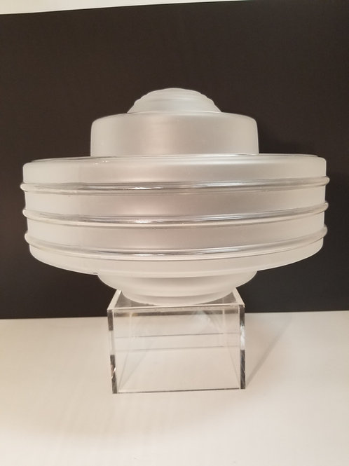 A large Art Deco frosted and clear glass shade l