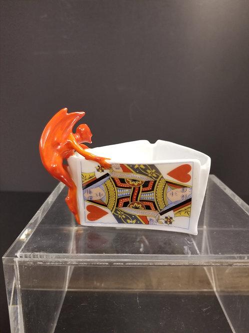 Royal Bayreuth Porcelain Nut Dish with Devils handle