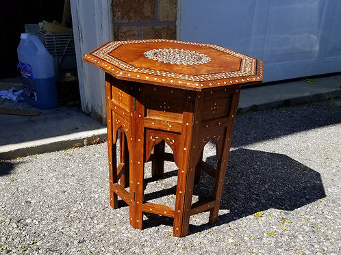 Anglo-Indian octagonal  hand carved wood and bone inlaid folding table