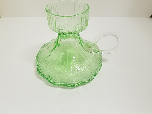 Mid century green and clear glass jug