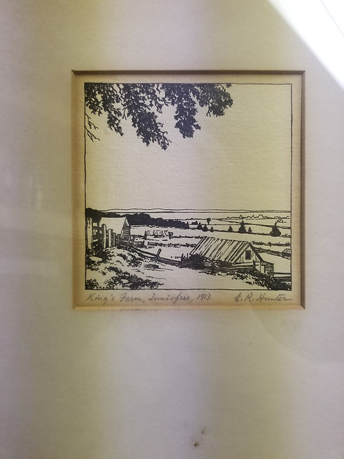 A wood cut by E.R. Hunter dated 1933