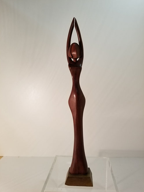 Mid Century Carved Sculpture of a Figure 13 .5""