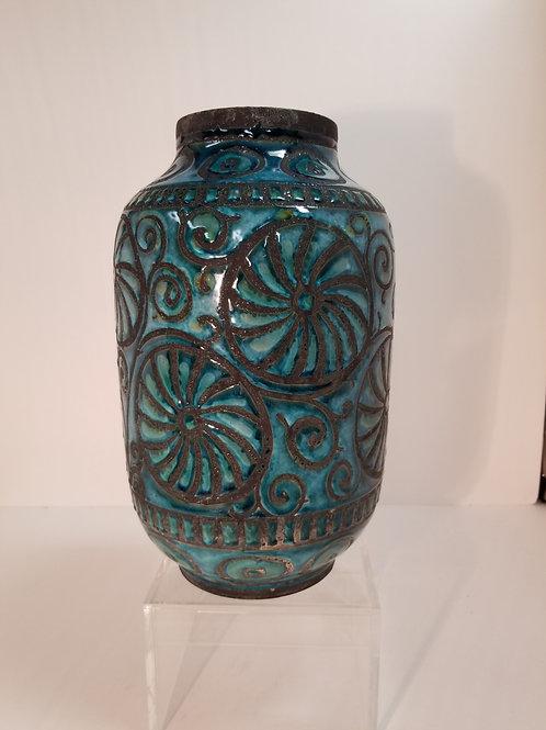 "Mid Century Italian Pottery Blue And Black Vase 12"""