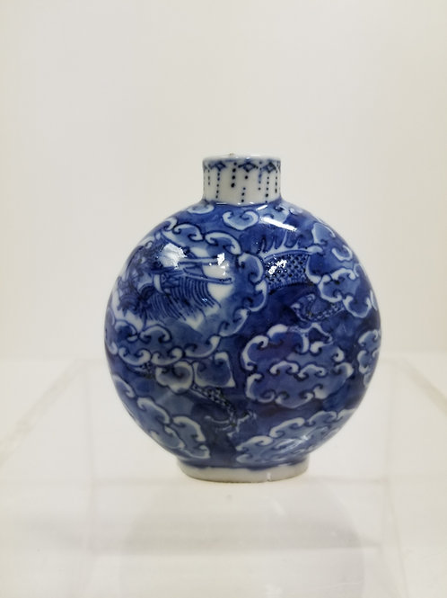 19th Century Chinese Blue and White Porcelain Snuff Bottle