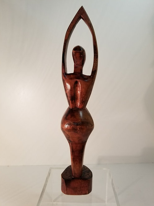Mid century wood sculpture of a female form