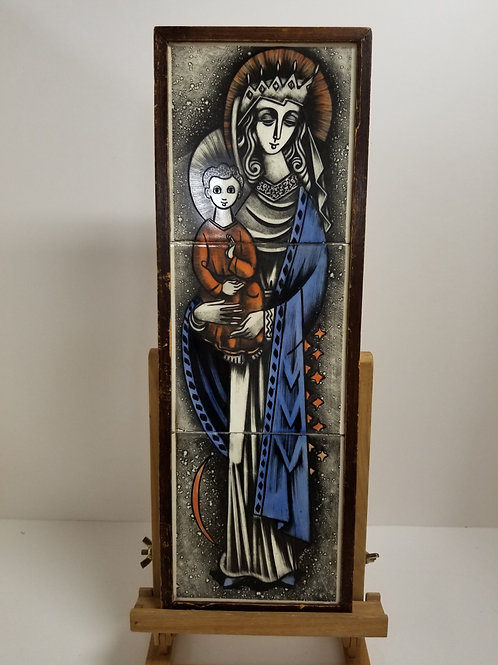 Mid century framed painted ceramic plaque of Madona and child