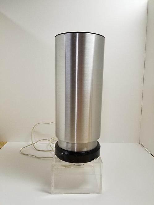 mid-century cylindrical chrome table lamp