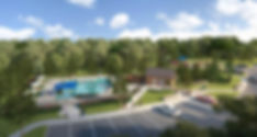Landscape design plan computer rendering of Aspen Meaows pool area by landscape architect Tom Pritchett