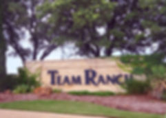 Beautiful Team Ranch community entrance sign and landscape design by T.H.Pritchett/Associates