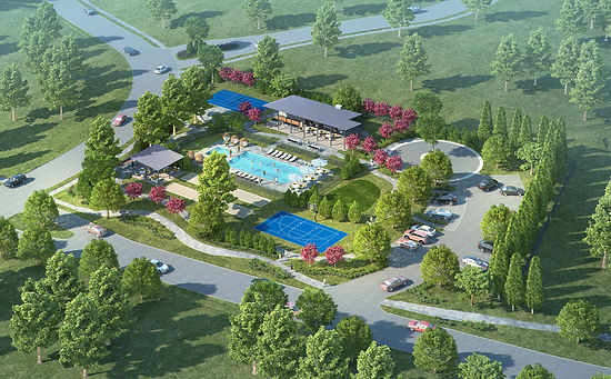 Montrachet in Ft. Worth- landscape design plan computer rendering by landscape architect Tom Pritchett