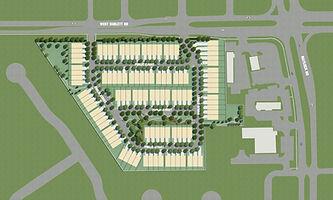 Landscape design plan computer rendering or Arlington, TX townhomes by landscape architect Tom Pritchett
